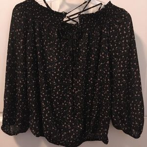 Jessica Simpson NWT black/floral/lace blouse Small